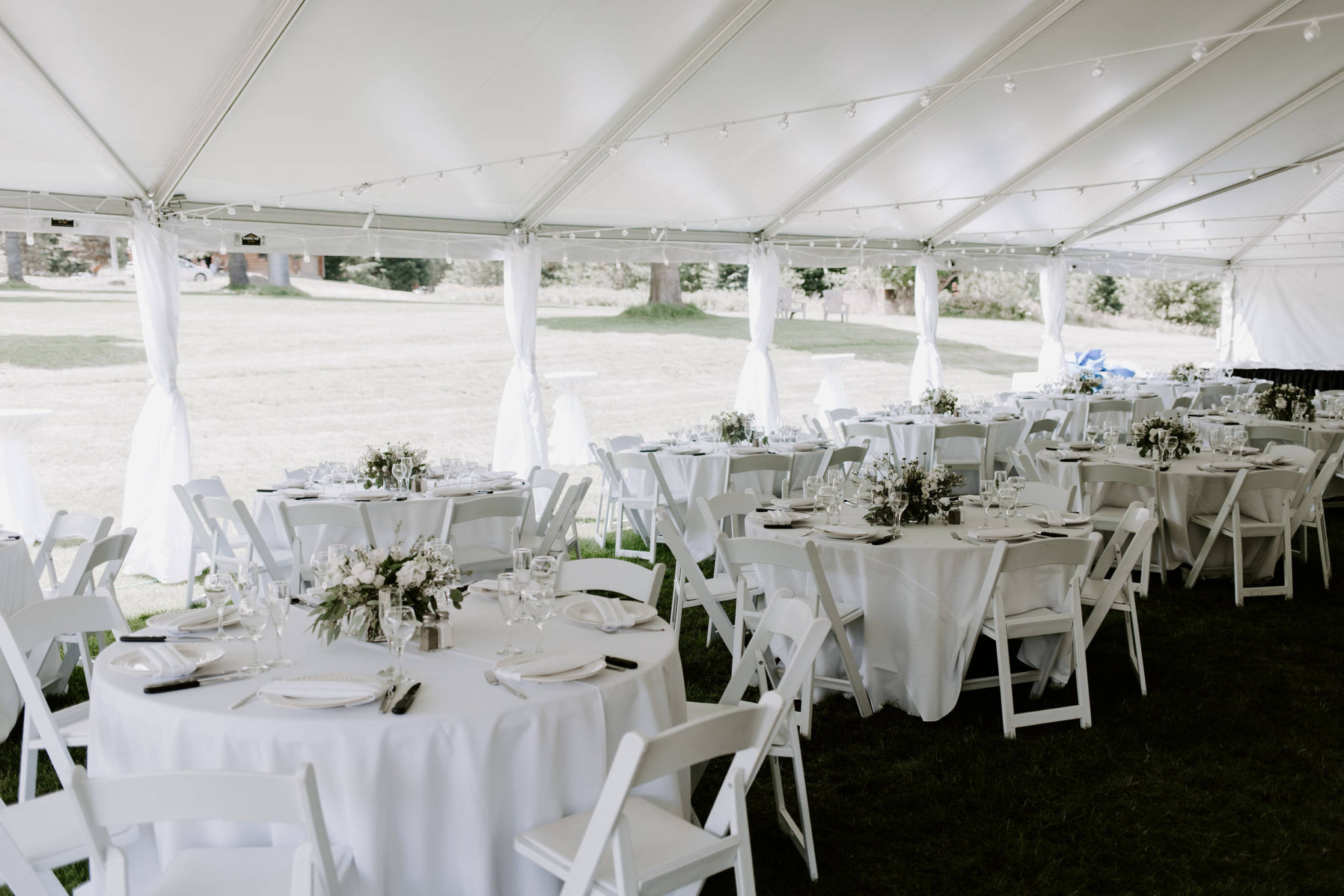 Wedding Tent with Tables Empty Outdoors