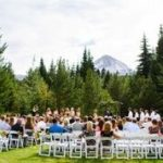 Wedding Outdoors Log Home Backyard Mt. hood