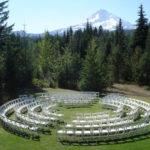 Wedding Venue Log Home Backyard Mt. hood No People