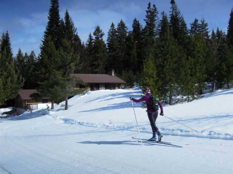 Nordic Skier on our Cross Country Ski/ Snowshoeing Trails- Cooper Spur Amenities
