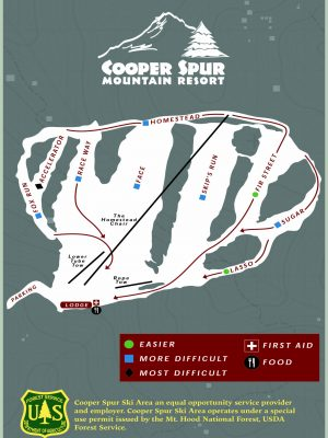 Cooper Spur Ski Area Trail Map- Downhill Riding at Cooper Spur